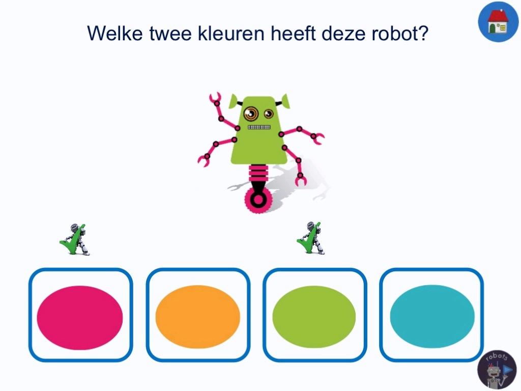 b025472a996 In de oefening over kleuren krijg je twee verschillende soorten vragen  gesteld. De ene vraag gaat over welke kleuren de robot heeft.