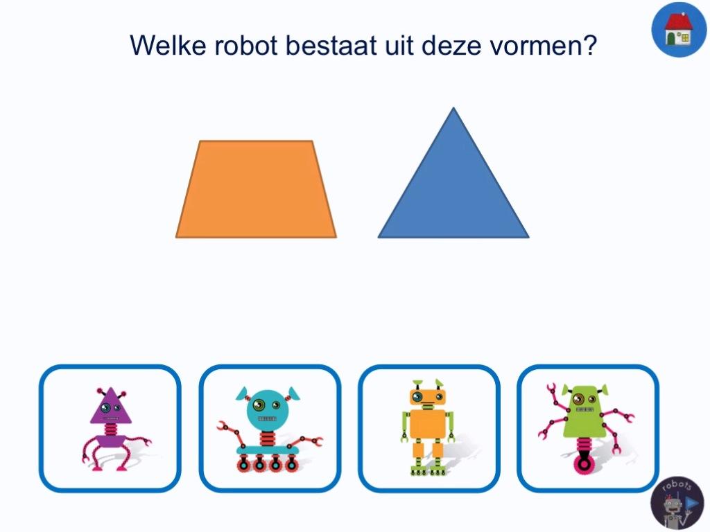 1a970af03de In deze oefening over vormen krijg je een soort vraag gesteld. Je ziet een  robot. Deze robot bestaat uit een vorm. Onder de robot zie je vier  verschillende ...