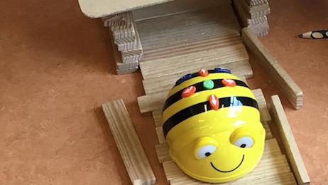 Bee Bot combineren kapla en blokken